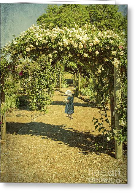 Girl In A Rose Garden Greeting Card by Elaine Teague
