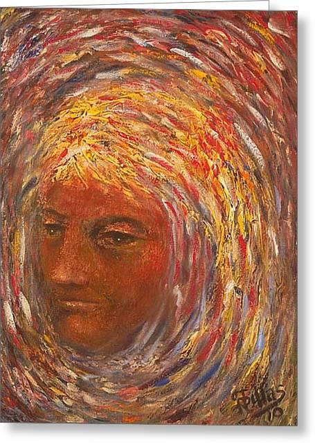 Girl In A Swirl Greeting Card by Herman Sillas