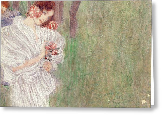 Girl In A White Dress Standing In A Forest  Greeting Card by Gustav Klimt