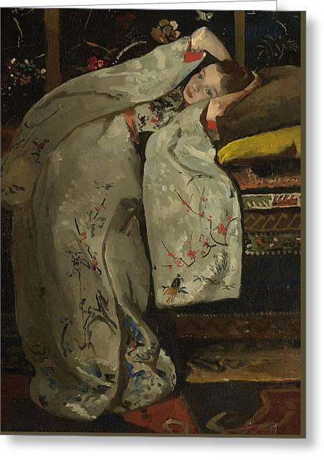 Girl In A White Kimono Greeting Card by Georg-Hendrik Breitner