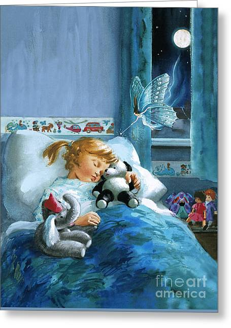 Girl In Bed Attended By Fairy Greeting Card by English School
