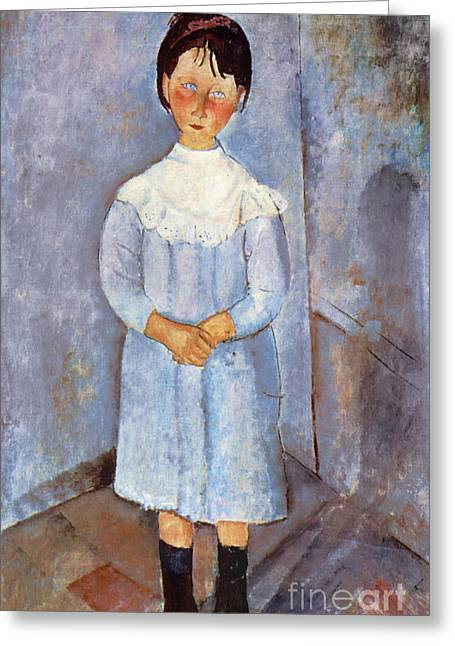 Girl In Blue, 1918 Greeting Card by Amedeo Modigliani