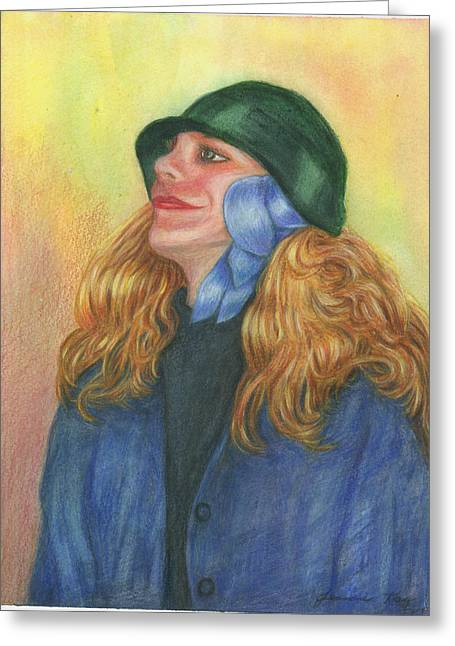 Greeting Card featuring the painting Girl In Blue Ribbon by Jeanne Kay Juhos