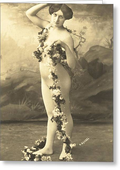 Girl In Body Stocking Holding Garland Of Flowers Greeting Card by French School
