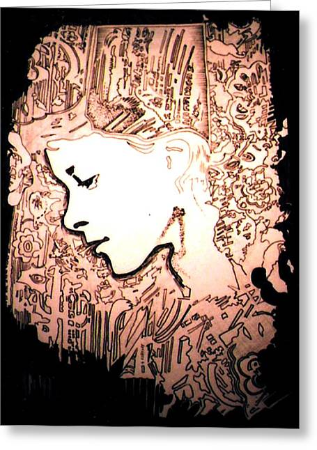Girl In City Greeting Card by Gabe Art Inc