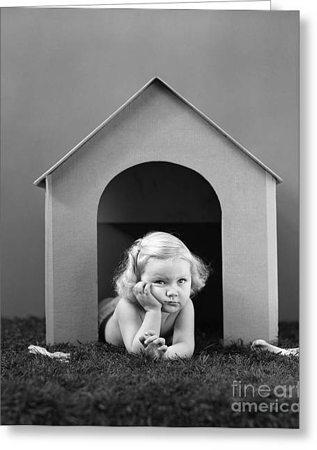 Girl In Dog House, C.1940s Greeting Card by H. Armstrong Roberts/ClassicStock