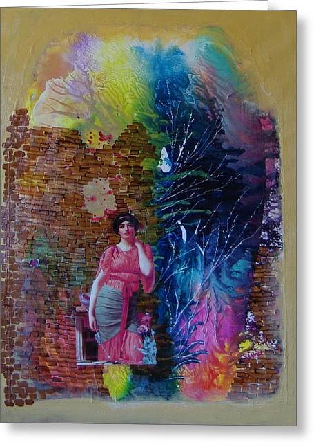 Girl In Front Of The Break Wall. Greeting Card by Sima Amid Wewetzer