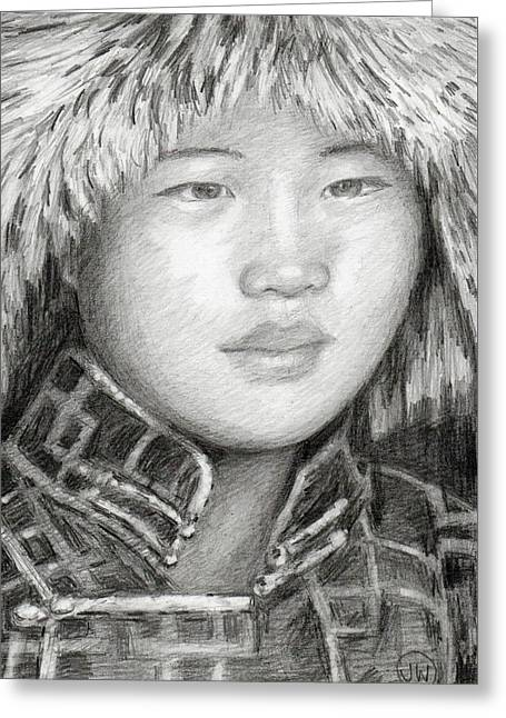 Girl In Fur Hat Greeting Card