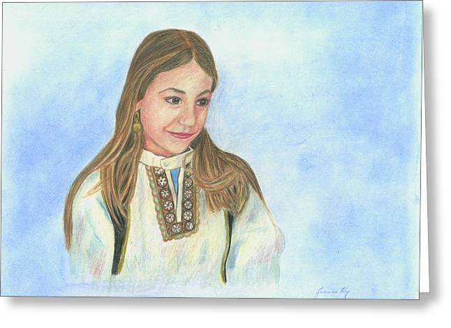 Greeting Card featuring the painting Girl In Greek Costume by Jeanne Kay Juhos
