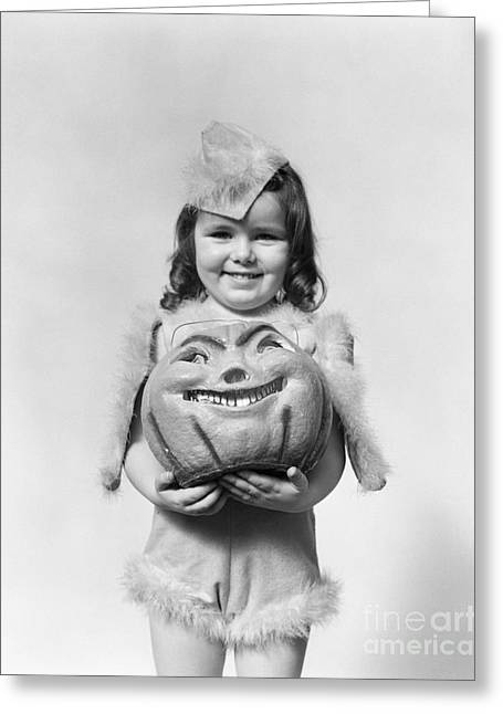 Girl In Halloween Costume, C.1930-40s Greeting Card by H. Armstrong Roberts/ClassicStock