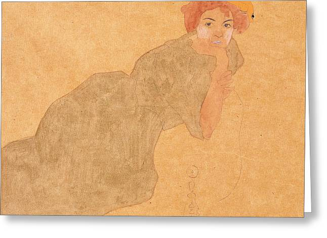 Girl In Olive Coloured Dress With Propped Arm Greeting Card by Egon Schiele