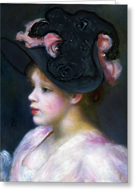 Girl In Pink And Black Greeting Card