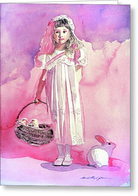 Girl In Pink Greeting Card by David Lloyd Glover