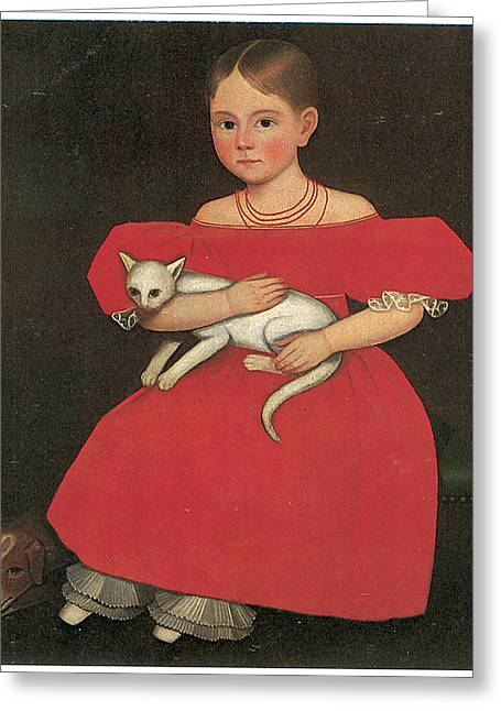 Girl In Red With Her Cat And Dog Greeting Card by Ammi Phillips