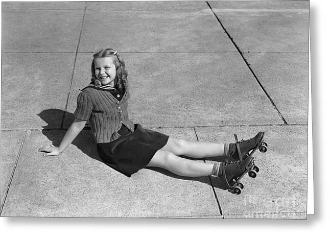 Girl In Roller Skates After Fall Greeting Card by H. Armstrong Roberts/ClassicStock