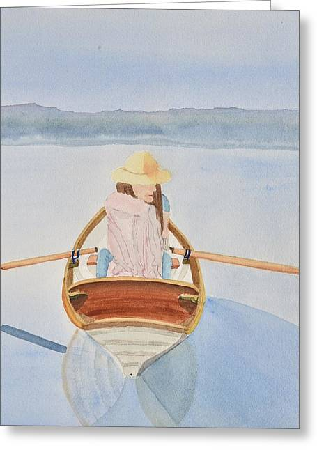 Girl In Rowboat Greeting Card