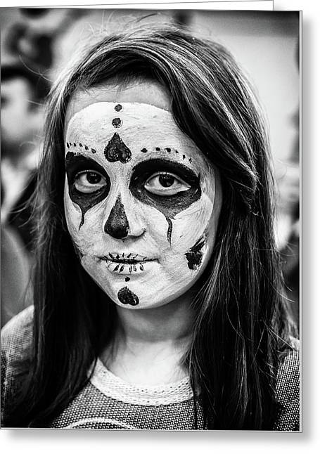 Greeting Card featuring the photograph Girl In Skull Facepaint by John Williams