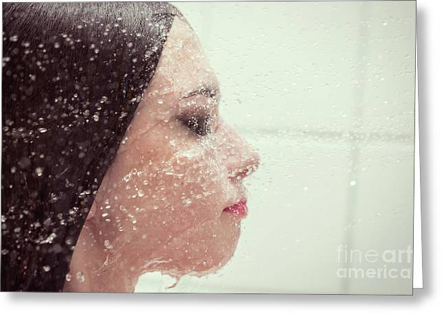 Girl In Splash Greeting Card by Aleksey Tugolukov
