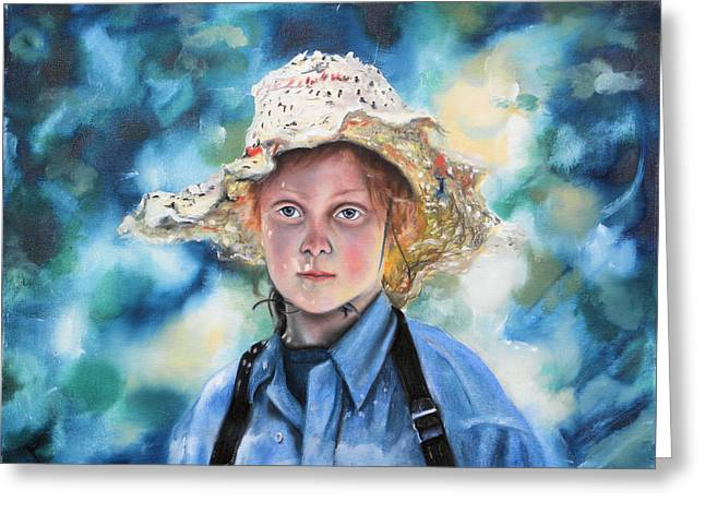 Girl In Straw Hat Greeting Card by Richard Barone