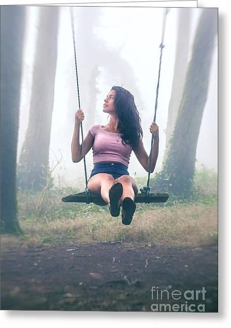 Girl In Swing Greeting Card