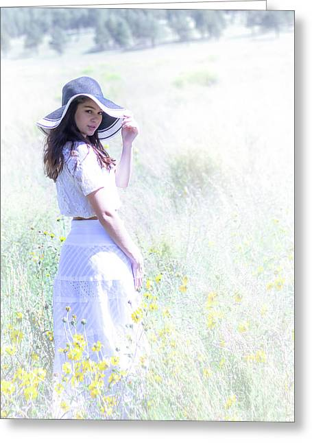 Girl In The Dreamy Meadow Greeting Card