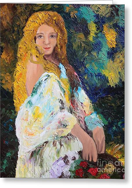 Girl In The Garden Greeting Card by Amy Wilkinson