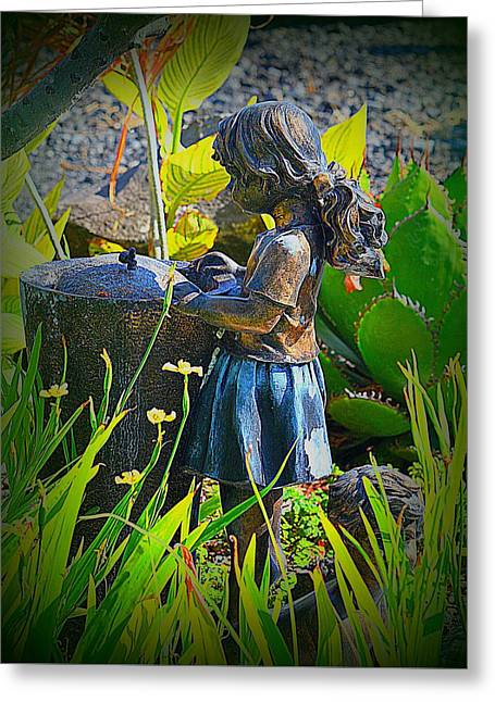 Greeting Card featuring the photograph Girl In The Garden by Lori Seaman