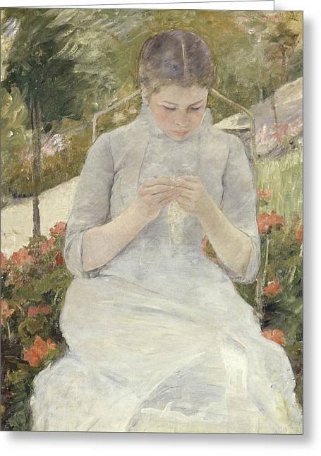 Girl In The Garden Greeting Card by Mary Cassatt
