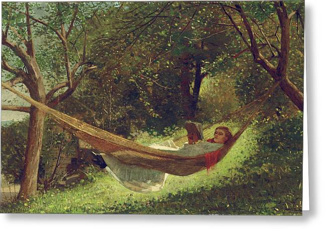 Girl In The Hammock By Winslow Homer 1873 Greeting Card by Movie Poster Prints
