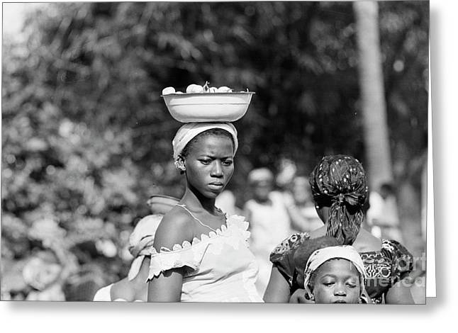 Girl In The Marketplace, Ivory Coast Greeting Card by The Harrington Collection