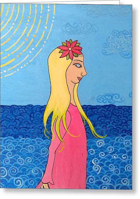 Girl In The Water Greeting Card