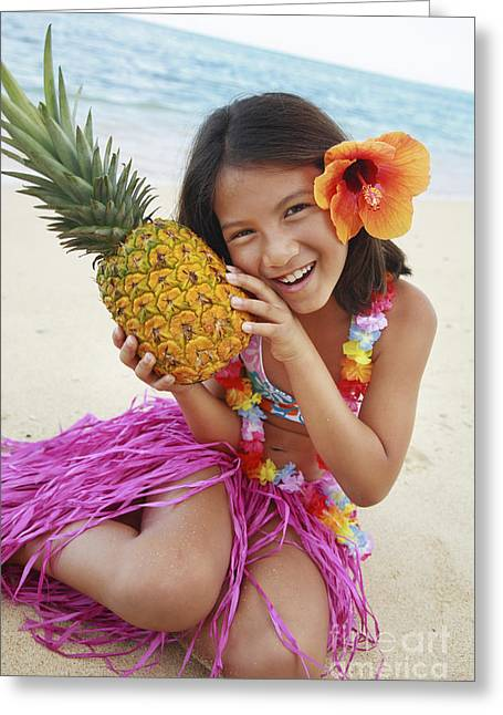 Girl In Tropical Paradise Greeting Card