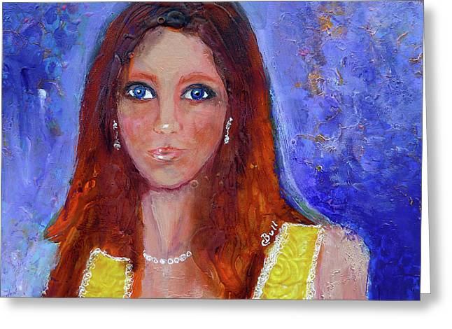 Greeting Card featuring the painting Girl In Yellow Dress by Claire Bull