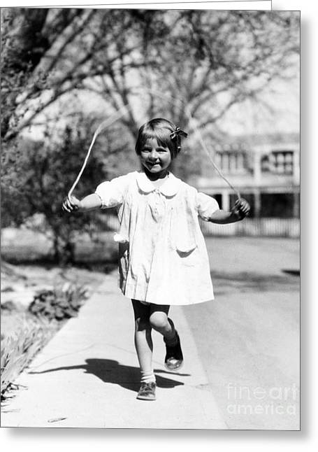 Girl Jumping Rope, 1936 Greeting Card by Science Source