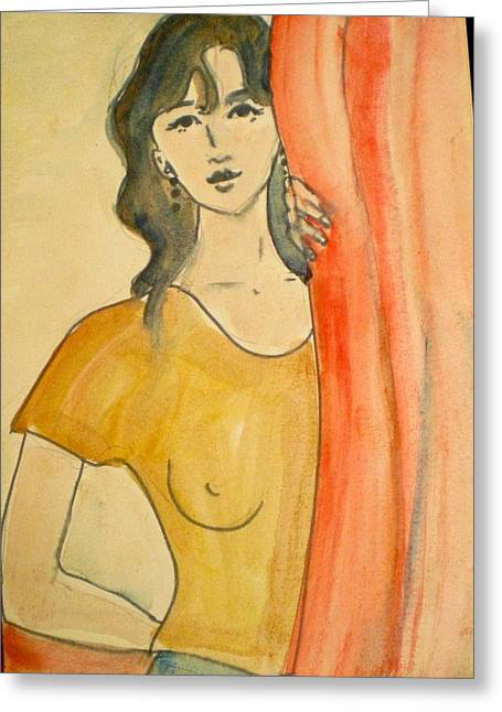 Girl Looking Through The Curtain Greeting Card by Maria Rosaria DAlessio