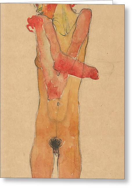 Girl Nude With Folded Arms Greeting Card by Egon Schiele