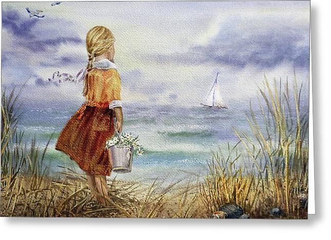 Greeting Card featuring the painting Girl Ocean Shore Birds And Seashell by Irina Sztukowski