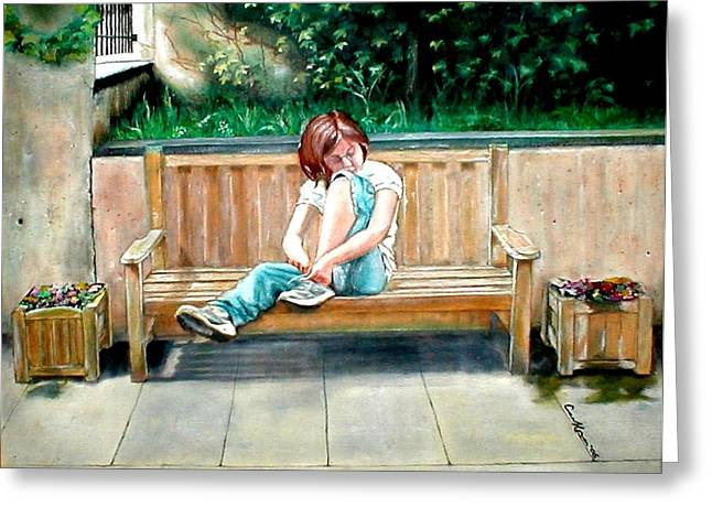 Girl On A Bench Greeting Card