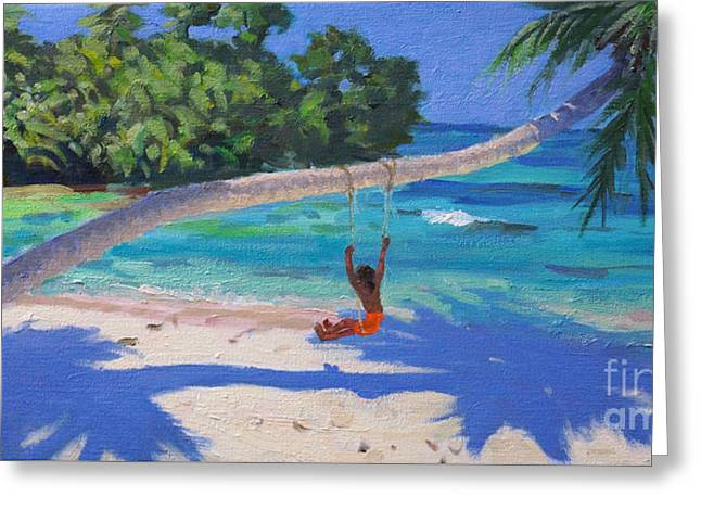 Girl On A Swing, Seychelles Greeting Card