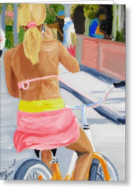 Girl On Bike Greeting Card by Michael Lee