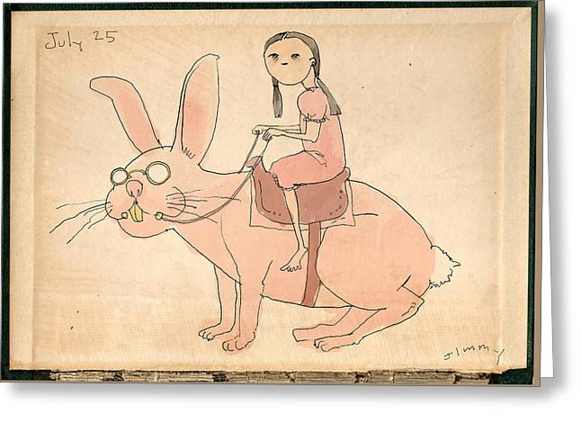 Girl On Rabbit Greeting Card by H James Hoff