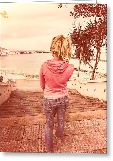 Girl On Redcliffe Travel Holiday Greeting Card