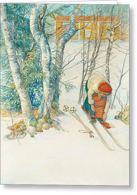 Girl On Skis Greeting Card by Carl Larsson