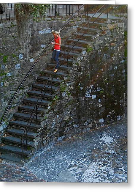 Girl On Stairs Greeting Card by Mark Whatley