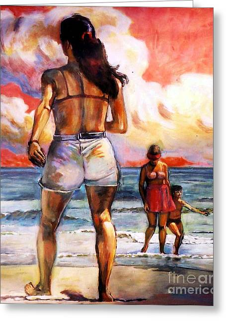 Girl On The Beach Greeting Card by Stan Esson