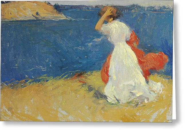 Girl On The Headland Greeting Card