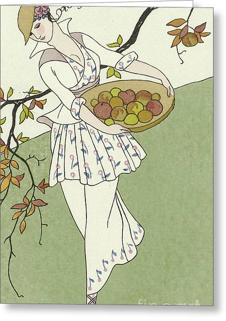Girl Picking Apples Greeting Card