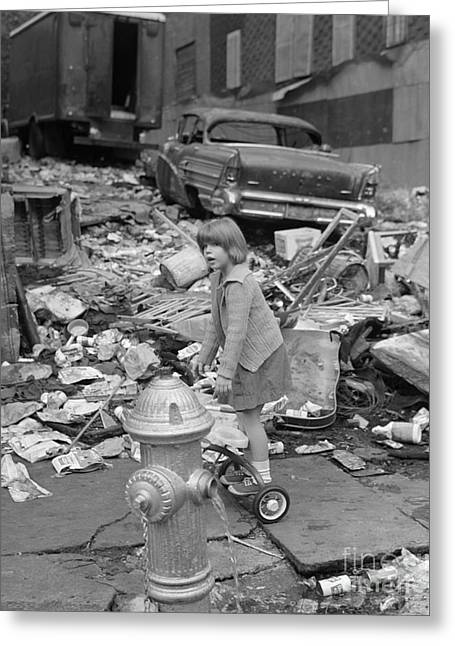Girl Playing In The Bronx, C.1960s Greeting Card