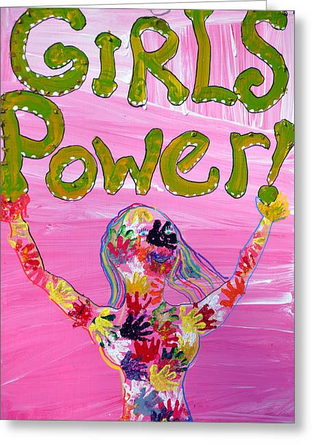 Girl Power Sign Greeting Card by Rose  Hill