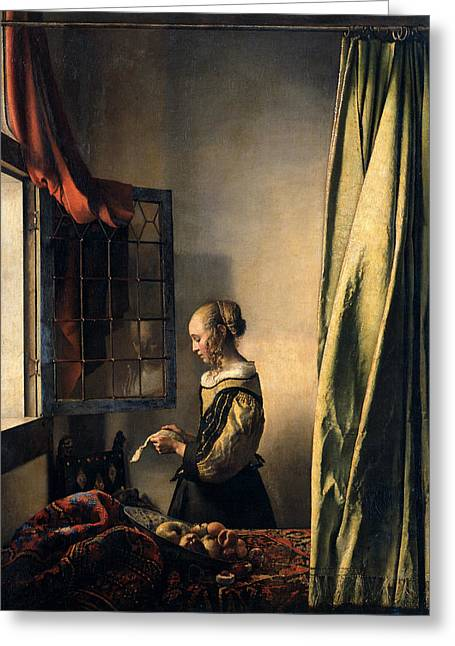 Girl Reading A Letter By An Open Window Greeting Card by Jan Vermeer